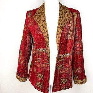 VTG Coldwater Greek Boho Aztec Leopard Blazer